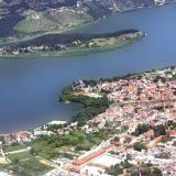 Arial photo of the island at Ioannina