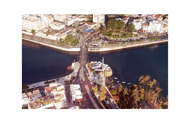 Aerial photo of the old bridge in Chalkida CHALKIDA (Town) EVIA