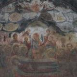 Mural of Agios Ioannis church depicting the Dormition (old monastery)