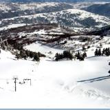 A panoramic view of a snowy slope