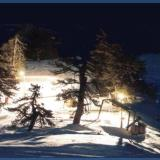 A lit-up slope for night skiing