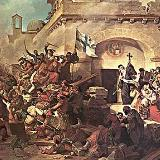 Moni Arkadiou, painting depicting the siege of Arkadi