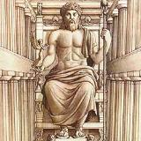Ancient Olympia, reconstruction drawing of the chryselephantine statue of Zeus