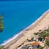 Agios Nikitas, the Pefkoulia sandy beach nearby