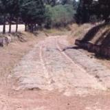 Isthmus Korinthos, the diolkos (paved road) 6th cent. BC