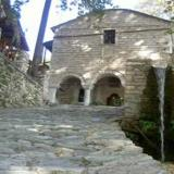 Makrinitsa, traditional building and water fountain