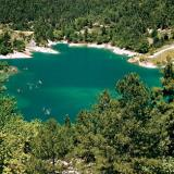 Tsivlos lake, at an altitude of 800 m., surrounded by Zarouchla fir-tree forest