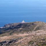 Megalo Livadi, the Spathi cape with a lighthouse on top of it