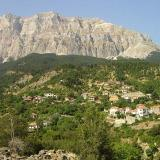 Melissourgi, panoramic view of the village with the Athamanian mountains in the background