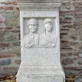 Archaeological Museum of Serres, a marble sepulchral stele; the Museum is housed in a building of the 16th-17th c., which is in the central square of the town