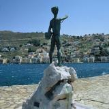 Gialos, Michalaki statue (the little fisherman) by the famous Symiot sculptor Costas Valsamis