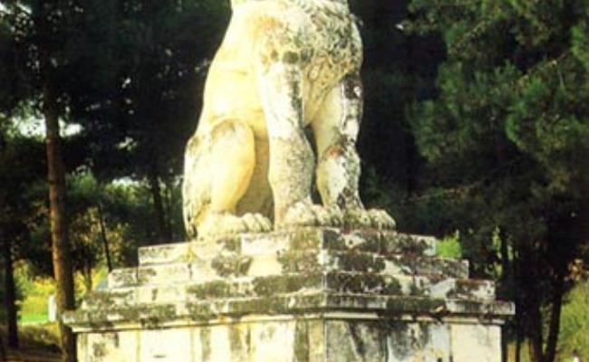 Archaeological Site of Amphipolis, the Lion of Amfipolis (a burial monument of the 4th c. b.C.) was restored near the position it was discovered, next to the west bank of Strymon, close to the bridge