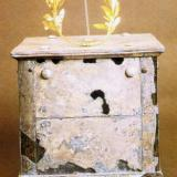 Archaeological Museum of Amphipolis; a sirver ossuary containing a golden wreath of olive leaves