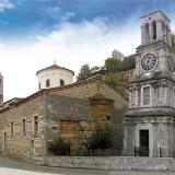 Lagadia, the stone Tower clock of the Church of Taxiarches