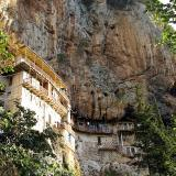 Timios Prodromos monastery, built on the rocks of the Loussios gorge
