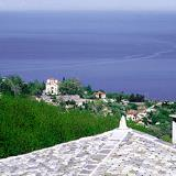 Traditional roofs looking at Aegean sea