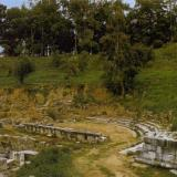 Sparta, ancient theater. Very few elements of the old theater of Sparta have survived; the ruins visible today are of Roman date; the skene was mobile