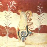 The Palace of Knossos, lilies and acanthus, favorite flowers of the ancient artists, adorn the wall-painting of the griffins in the Throne Room
