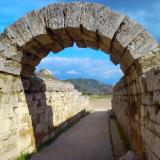 Krypte, the entrance to the stadium of Olympia, was a vaulted stoa 32 m long, built in the late 3rd century BC