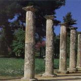 Ancient Olympia, the palestra (3rd century BC), Doric columns surrounded the square courtyard where the athletes trained