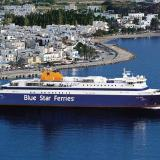 Car Passenger Ferry Blue Star Paros in Paroikia Port