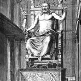 The statue of Zeus at Olympia, one of the 7 wonders of the ancient world. Engraving, 19th century