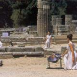 Olympic flame lighting in ancient Olympia