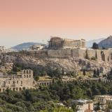 Acropolis of Athens. Panoramic view of Herod's Odeum and the south slope