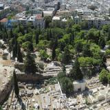 The Asklepieion and theatre of Dionysus, viewed from the Acropolis