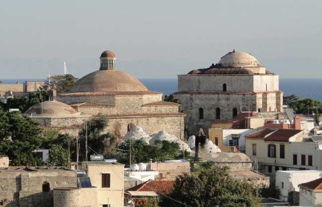 Yeni Hamam or Public Baths (left) and Mustafa Pasha Mosque (right), Μedieval City of Rhodes. RODOS (Town) DODEKANISSOS