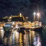 Poros port by night